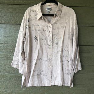 Chico's 100% Linen 3/4 Sleeve Ancient Print BOHO